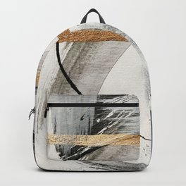Armor [7]: a bold minimal abstract mixed media piece in gold, black and white Backpack
