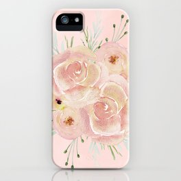 Wild Roses on Seashell Pink Watercolor iPhone Case