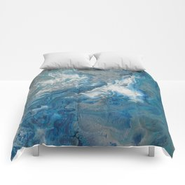 Blue Waves, abstract poured acrylic, blue, white, silver and black Comforters