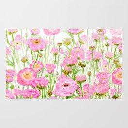 pink buttercup ranunculus field watercolor Rug