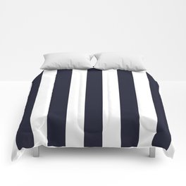 Elderberry blue - solid color - white vertical lines pattern Comforters
