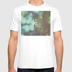 Bokeh With Butterfly Wings Mens Fitted Tee MEDIUM White