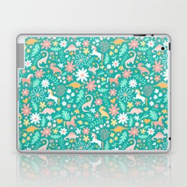 Dinosaurs + Unicorns on Teal Laptop & iPad Skin