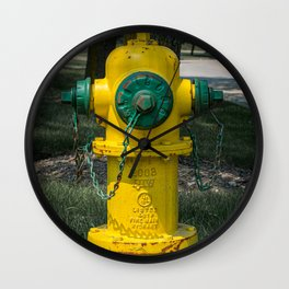 East Jordan Iron Works Yellow and Green Fire Hydrant Fluted Fireplug Wall Clock