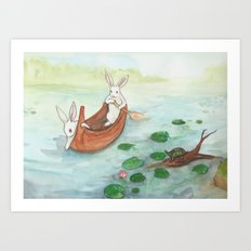 Lazy Day in the Canoe Art Print