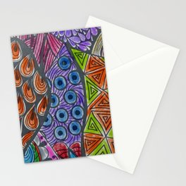 Geometrical orange blue watercolor shapes peacock feathers Stationery Cards