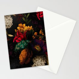 Midnight Hours Dark Vintage Flowers Garden Stationery Cards
