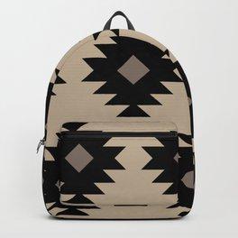 Southwestern Pattern 522 Black and Beige Backpack