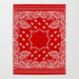 Bandana in Red & White Poster