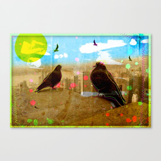 New York Pigeons Canvas Print