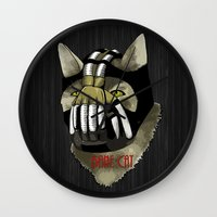 bane Wall Clocks featuring Bane Cat by jcdope
