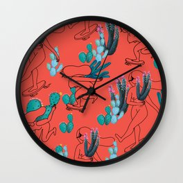 Picking cactus Wall Clock