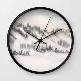 2019 Watercolor Winter Scapes Series 001 Watercolor Painting Wall Clock