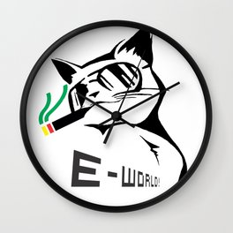 E-World! (Jamaican Cat) Wall Clock