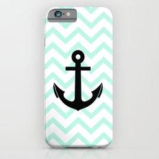 Pastel Mint Tiffany Turquoise, Chevron Anchor Slim Case iPhone 6