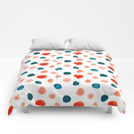Blue and Orange Dots Comforters