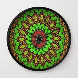 Lovely Healing Mandala  in Brilliant Colors: Green, Brown, Copper, and Maroon Wall Clock