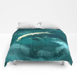 Watercolor Wild Dolphin  Digital Art Comforters
