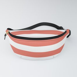 Inspired by Pantone Living Coral 16-1546 Hand Drawn Fat Horizontal Lines on White Fanny Pack