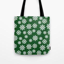 Winter Big White Snowflakes Pattern Green Tote Bag