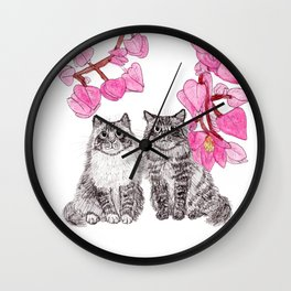 Two Cats with the Pink Flowers Wall Clock