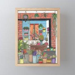 Kitty Flower Shop Framed Mini Art Print