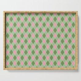 Pink-Green Argyle Pattern Serving Tray