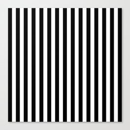 Stripe Black & White Vertical Canvas Print