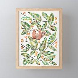 Happy Sloth – Tropical Green Rainforest Framed Mini Art Print