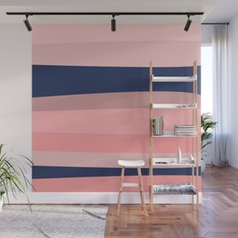 Groovy Stripes in Navy Blue and Pink Wall Mural