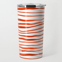 Irregular watercolor lines - orange Travel Mug
