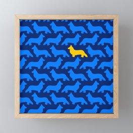 Blue and Yellow Midnight Welsh Corgi Silhouette Pattern Framed Mini Art Print