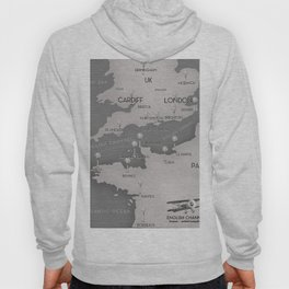 English Channel map (mono) Hoody