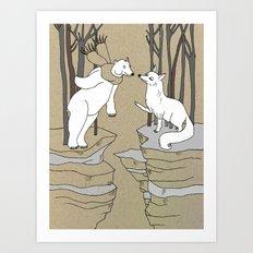 Arctic fox and Polar bear, Romeo and Juliet Art Print