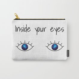 Galaxy inside big blue eyes with text above Carry-All Pouch