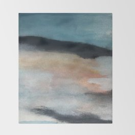 Dawn: a minimal abstract acrylic piece in pink, blues, yellow, and white Throw Blanket