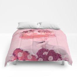 Woman in flowers Comforters