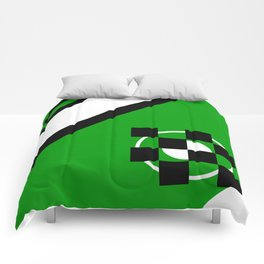 Simplicity - Green, black and white, geometric, abstract Comforters