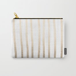 Simply Drawn Vertical Stripes in White Gold Sands Carry-All Pouch