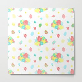 Colorful Easter Egg and Easter Flower Pattern Metal Print