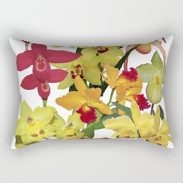 Orchids - Hot Colors! On white Rectangular Pillow