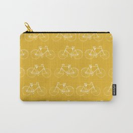 Saffron-Yellow Vintage Bicycle Pattern Carry-All Pouch