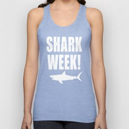 Shark Week, white text on black Unisex Tank Top