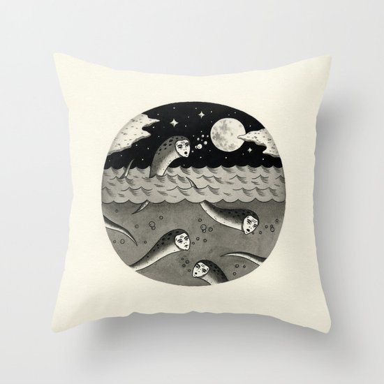 Convening on the Full Moon Throw Pillow