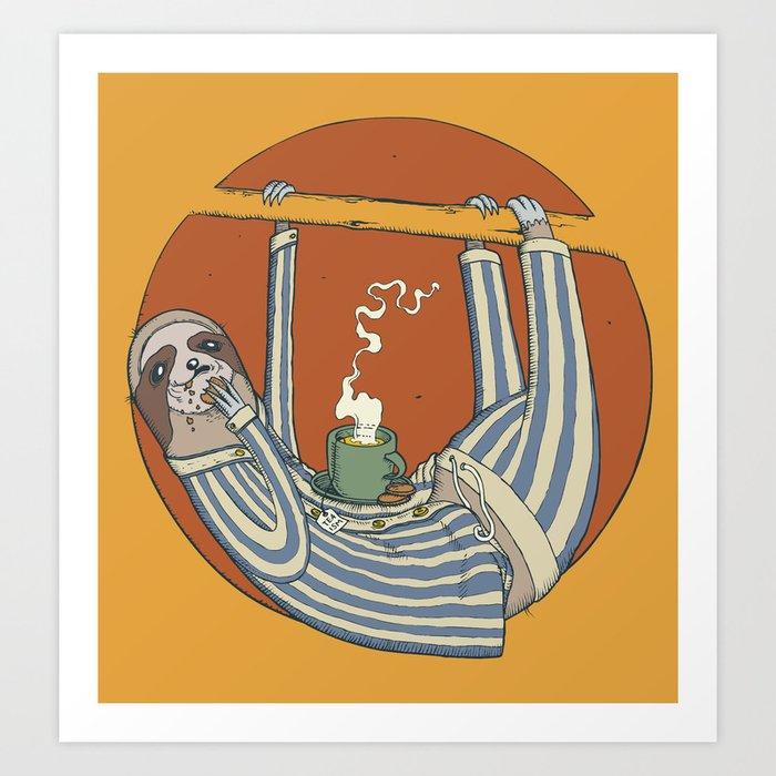 Sloth enjoying breakfast. Art Print