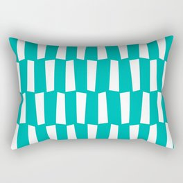 Turquoise and white abstract shapes pattern Rectangular Pillow