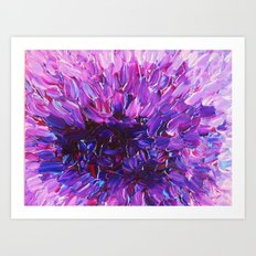 LOTUS BLOSSUM - Beautiful Purple Floral Abstract, Modern Decor in Eggplant Plum Lavender Lilac Art Print