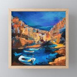 Night Colors Over Riomaggiore - Cinque Terre Framed Mini Art Print