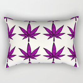 Filigree Floral Cannabis Leaf- 4x4 tile Purple Rectangular Pillow