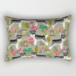 Schnauzer tiki pattern floral hibiscus floral flower pattern palm leaves Rectangular Pillow